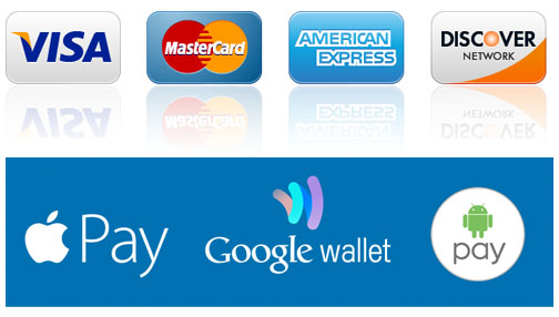 Credit and Debit Cards Accepted as well as Mobile Payments
